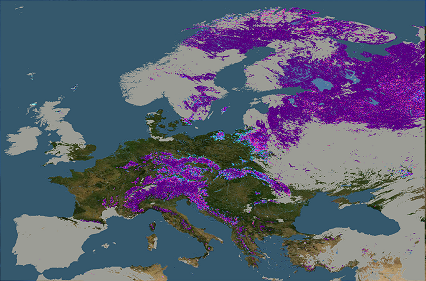 Snow Cover Map Europe.Fractional Snow Cover